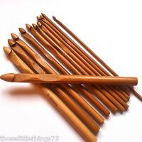 Crochet hooks bamboo needles 3 - 10mm 12pcs set, yarn knitting hook wood