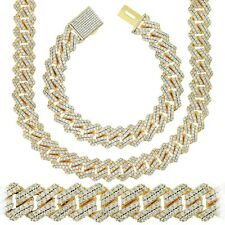 Hip Hop Miami Square Cuban S-Link Chain Solid Necklace 14K Gold Plated CZ Stones