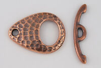 22mm Ant. Copper TierraCast Pewter Hammered Ellipse Toggle Clasp (10 Set) #CK543