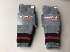 New Men's Wigwam Boot Merino Wool Socks 2 Pair Size Large Grey w/ Multi #1029L