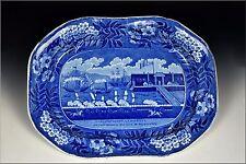 19th Century Landing of General La Fayette Historical Blue Staffordshire Platter
