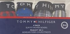 Tommy Hilfiger 4 Slim Fit Woven Boxers Medium 32-34 Assorted Grays/Blue/Red