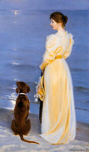 Summer Evening at Skagen, P.S. Krøyer, Lady & Dog, Museum Poster / Canvas Print