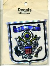 vtg prismatic sticker USA crest eagle American flag pride liberty