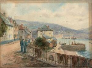 LEWIS MORTIMER Antique Watercolour Painting NEWLYN CORNWALL - 20TH CENTURY