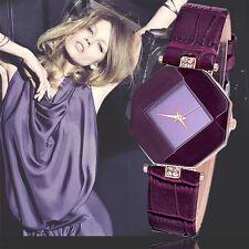 Ladies Fashion Rose Gold Quartz Diamond Shaped Dark Purple Faced Wrist Watch.