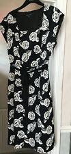 Stunning Black And White Laura ashley Ladies Dress Size 14 Lined Side Zip