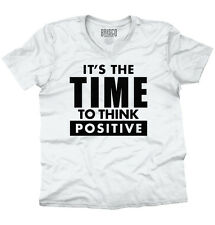 Time To Think Positive Inspiring Motivating Adult V Neck Short Sleeve T Shirts
