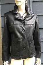 BAGATELLE Women's JACKET COAT Black Genuine Leather Quilted Lined Pockets Size M