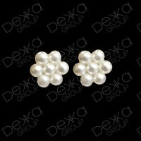 Genuine 925 Sterling Silver Pearl Flower Mini Stud Earrings Girls Children Women