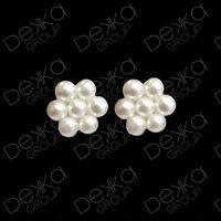 Genuine 925 Sterling Silver Pearl Flower Mini Stud Earrings Girls Children Women
