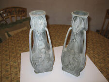 Enchanted Art Nouveau Spelter Pair Vessel with Winged Fairies Signed J. Garnier