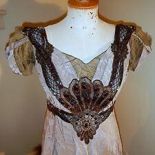 antique 1900 Edwardian Moire BALL GOWN Train huge PEACOCK Jeweled Beaded Bodice