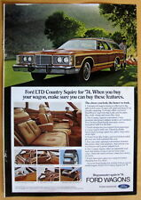 Vintage Magazine Print Ad 1974 Ford LTD Country Squire Wagon