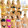 Womens Metallic Triangle Swimwear Bathing Crop Top Bikini Set Swimsuit Beachwear