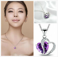 Amethyst Purple Silver Gemstone Heart Pendant Crystal NECKLACE PARTY WEDDING ue3