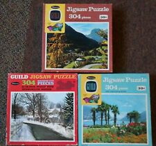 3 VTG Whitman Guild 304 pc Jigsaw Puzzle Dayton Mountain Village Guardian Palms