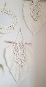 Macrame Feather Leaf Wall Hanging Boho Driftwood  decor cotton Handmade