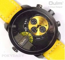 OULM 3130 Military Army Leather YELLOW Dial Big Dual Time Zones Wrist Watch