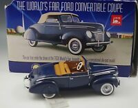 FRANKLIN MINT 1939 FORD DELUXE CONVERTIBLE COUPE MODEL 1:24 SCALE DIE CAST MIB