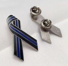 Thin Blue Line Ribbon Pin, Police, Law  Enforcement, TBL, Ribbon Pin,  38mm High