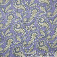BonEful FABRIC FQ Cotton Quilt Purple Cream Green Paisley Flower Antique Toile S