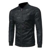 Long Sleeve Casual Zipper Black Coat Outwear Baseball Slim Fit Jacket Mens Tops