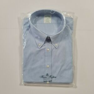 Brooks Brothers Men's Blue Non-Iron Long Sleeves Milano Slim Fit Shirt Large