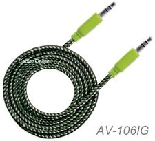 6ft 3.5mm Stereo Trs Male to Male Braided Audio Cable, Black/Green, 352857