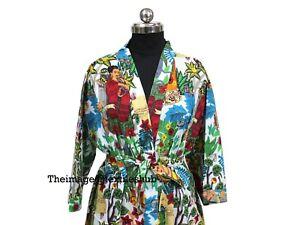 Indian Women's Dressing 100% Cotton Nightwear, Sleepwear, Colorful Kimonos Robes
