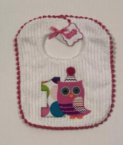 NWT Mud Pie Owl Bib Baby 1st Birthday Turning 1 Pink White Purple Super Soft C10