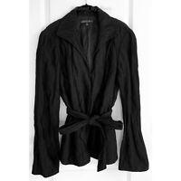 LAFAYETTE 148 New York Metallic Threaded Black Crinkled Blazer Jacket Size 12