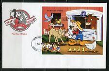 Disney Maldives Mickey In Spring Farm 1998 Souvenir Sheet First Day Cover