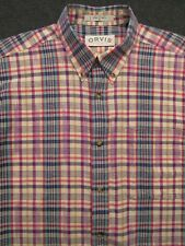 Men's Multi-Color Pattern ORVIS short sleeve Cotton Casual Shirt ~ Medium