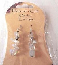 Beautiful natural opalite silver plated earrings and stoppers by Nature's Gift