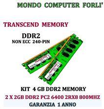 4 GB (2 X 2GB) DDR2 MEMORIA/ RAM TRANSCEND PC2 6400U 800MHz NONECC ALTA DENSITÀ