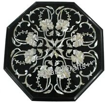 Coffee Table Top with Floral Art Marble Side Table Mother of Pearl Inlay Work