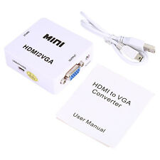 Mini HDMI TO VGA HDMI Converter With USB Power Cable Adapter Converter White