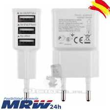 CARGADOR PARED ENCHUFE CASA 2A TRIPLE 3 PUERTOS USB BLANCO MOVIL SAMSUNG IPHONE