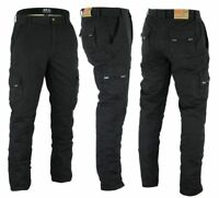 Mens Combat Black Cargo Work Trousers Pant Jean Size 30 to 50 Short Reg Long