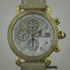 Michele Michele CSX Chronograph, MOP Dial, DIA Bezel, Gold Plated SS , Ladies