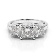 2.00 Ct Princess Cut 3 Stone Diamond Engagement Ring Real 14k White gold L M N O