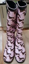 WOMENS NEW DACHSHUND PINK WELLIES WITH A BLACK BOW  SIZE 6