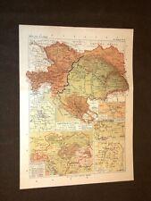 Carta cartina estratta da Atlante del 1890 Impero d'Austria dopo il 1878 Magenta