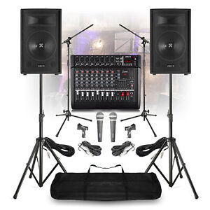 """Complete Band PA System 12"""" Speakers 8 Channel Amplifie Mixer MIcrophones Stands"""