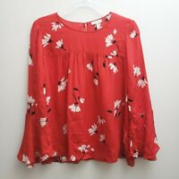 Joie Womens Silk Blouse Size Large Red White Floral Flare Sleeves Keyhole Top
