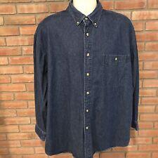 Lee XL cotton blue denim long sleeve button front mens Shirt