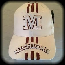 U of M Ball Cap, White, OSFA, Michigan University, NWT 80/20 Wool/Acrylic Hat