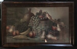 Antique Early Chromolithograph Fruit Wine Framed Still Life Print by H Hadland