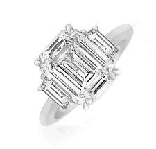 GIA Certified 5.20 Carat Emerald & Trapezoid Cut Platinum Diamond Engagement ...